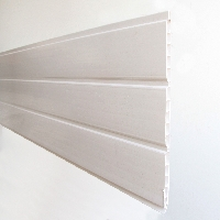 White PVC hollow soffit board available from Green & Son